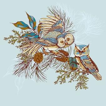 Ghristmas kartka z pozdrowieniami z sowami, świerkiem i jedlinowymi rożkami