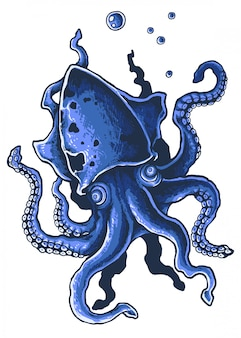 Giant squid tentacle octopus ilustracji wektorowych