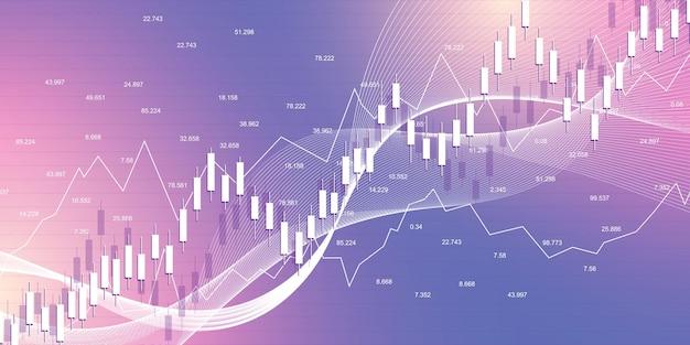Giełda i giełda. biznes wykres wykresu świecowego kija giełdowego handlu inwestycyjnego. dane giełdowe. byczy punkt, trend wykresu. ilustracja wektorowa.