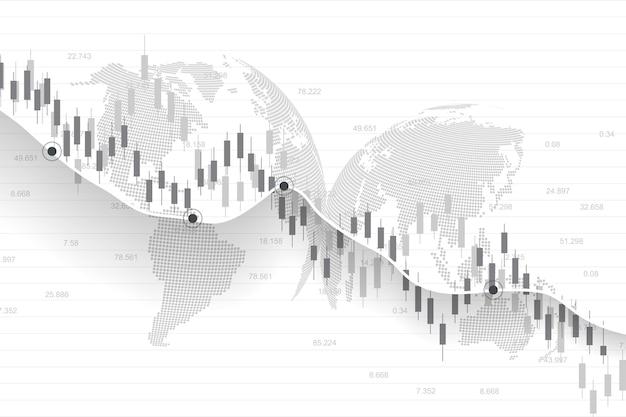 Giełda lub wykres handlu forex w koncepcji graficznej dla inwestycji finansowych lub trendów gospodarczych projekt pomysłu na biznes. tło finansów na całym świecie. ilustracja wektorowa.