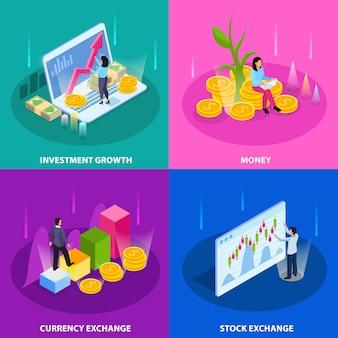 Giełdy papierów wartościowych isometric ikona ustawiająca z inwestorską wzrostową pieniądze walutą i giełda papierów wartościowych opisami ilustracyjnymi