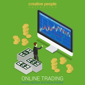 Giełdy papierów wartościowych opcja binarna handlu online finanse instrument rynku narzędzia płaskie 3d web izometryczny infographic koncepcja wektor mini inwestor giełdowy przed grafiką monitora odcienia. kolekcja kreatywnych ludzi.