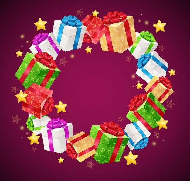 Gift box garland card.