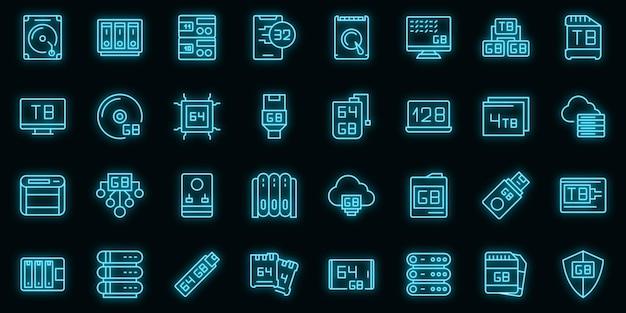 Gigabajtowe ikony ustaw wektor zarys. wielkie dane. terabajt komunikacji