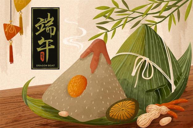 Gigantyczne pierogi ryżowe na drewnianym stole, baner festiwalu smoczej łodzi