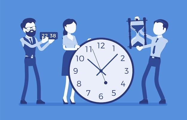 Gigantyczne zegary do zarządzania czasem, ludzie biznesu. kierownik kontroluje pracowników pracujących dobrze, wykonują zadania wydajnie, umiejętności porządkowania pomagają spędzać godziny w biurze. ilustracja wektorowa, postacie bez twarzy