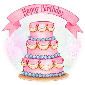 Gigantyczny różowy tort urodzinowy akwarela