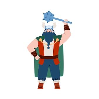 Gigantyczny wojownik wikingów z brodą i maczugą na białym tle
