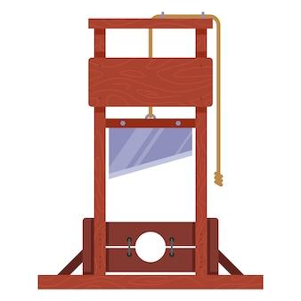 Gilotyna drewniana do egzekucji osoby. płaska ilustracja wektorowa