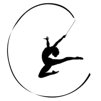 Gimnastyczka sylwetki ludzkiej w ćwiczeniu ze skokiem wstążki czarno-biały rysunek