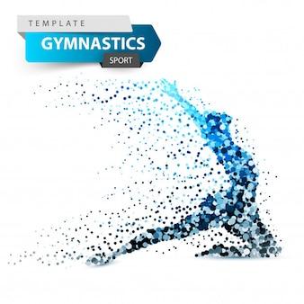 Gimnastyki, sport - kropkuje ilustrację na białym tle.