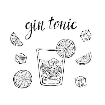 Gin tonic klasyczny koktajl ręcznie rysowane ilustracji wektorowych. szklanka z lodem i plasterkiem limonki, na karty koktajlowe.