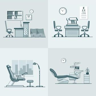Ginekolog ginekologia dentysta okulista okulista biuro szpital medycyna kobieta wnętrze pokoju opieki zdrowotnej zestaw wewnętrzny.