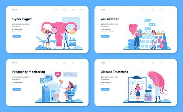 Ginekolog, reproduktolog i zestaw banerów internetowych dotyczących zdrowia kobiet lub strony docelowej.