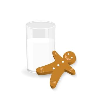 Gingerbread biscuit i szklankę mleka na białym tle. świąteczna przekąska świąteczna