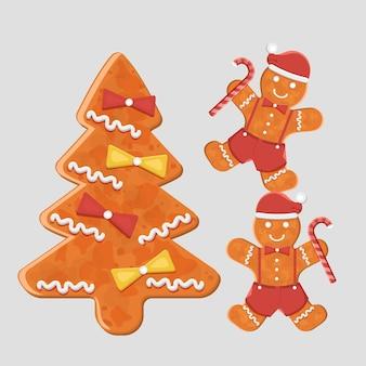 Gingerbreads mans z piernikowym drzewem, słodkie ciasteczka. ilustracja wektorowa płaskie.