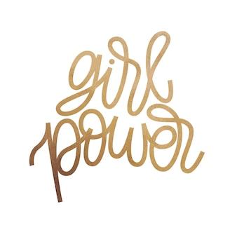 Girl power - inspirujący projekt cytatu. złoty brokat tekstury.
