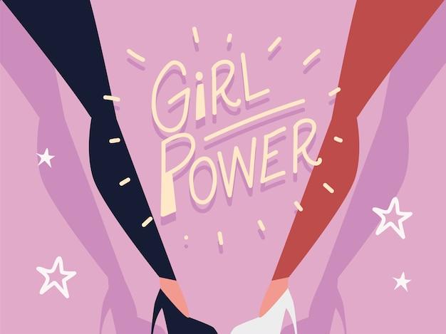 Girl power, kobiece nogi i odręczny napis