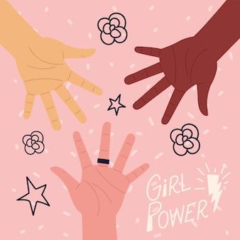 Girl power, napis motywacyjny rękami kobiety