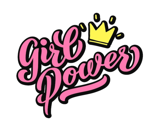 Girl power napis odręcznie z jasnym różowym żywe czcionki. ręcznie napis grl power. feministyczny slogan, fraza lub cytat. nowoczesna ilustracja wektorowa na t-shirt, bluzę lub inny nadruk odzieży.