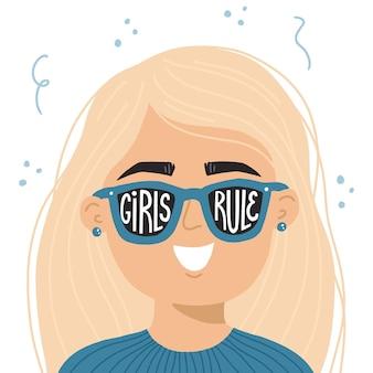 Girl power ręcznie rysowane ilustracji wektorowych. kobieta w okularach przeciwsłonecznych z inspirującym sloganem dziewczyny rządzą. feministyczna koncepcja koszulki, plakatu, nadruku.