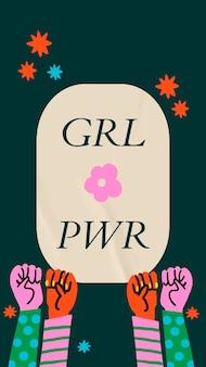 Girl power social media szablon wektor z solidarności podniesionymi rękami