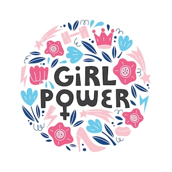 Girl power wektor ręcznie rysowane napis z kobiecymi symbolami w stylu doodle koncepcja feminizmu