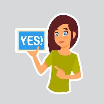 Girl says yes naklejka for messenger