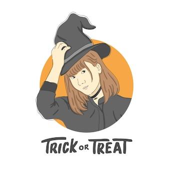 Girl witch illustration cukierek albo psikus halloween