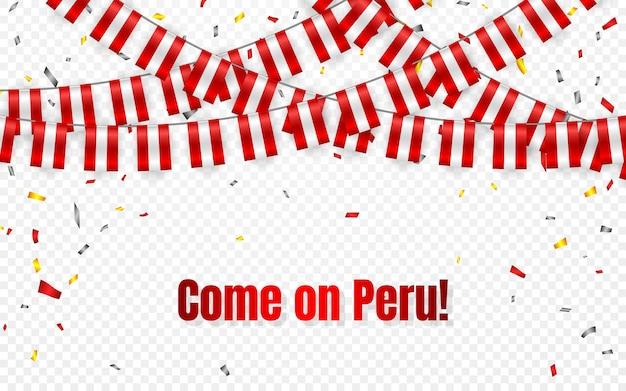 Girlanda flagi peru na przezroczystym tle z konfetti. powiesić chorągiewkę na banner szablon obchodów dnia niepodległości peru,