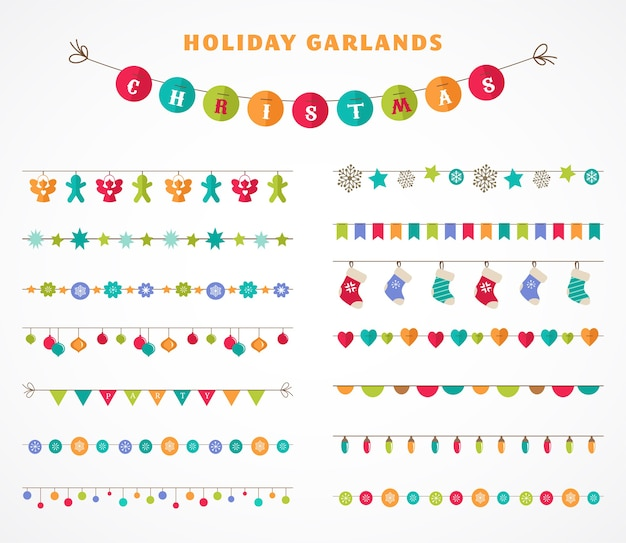 Girlanda - kolekcja wzorów, pędzli, bordiur na boże narodzenie i imprezę