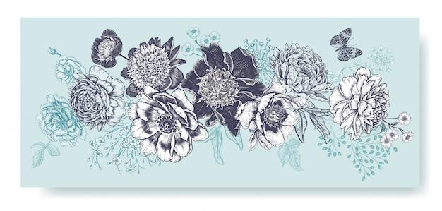 Girlanda kwiatowa. dekoracja ślubna. czarne piwonie