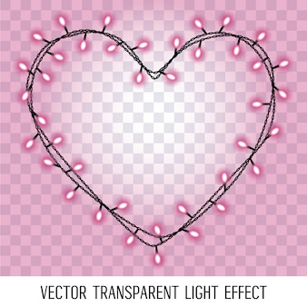 Girlanda w formie serca z rozjarzony różowy fioletowy światła na przezroczystym tle.
