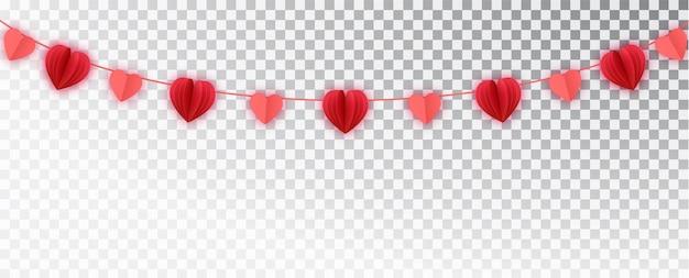 Girlanda z czerwonego papieru serca