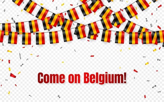 Girlanda z flagami belgii na przezroczystym tle z konfetti. powiesić trznadel na baner szablonu obchodów dnia niepodległości,