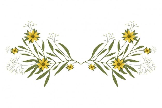Girlanda z kwiatami i liśćmi na białym tle ikona