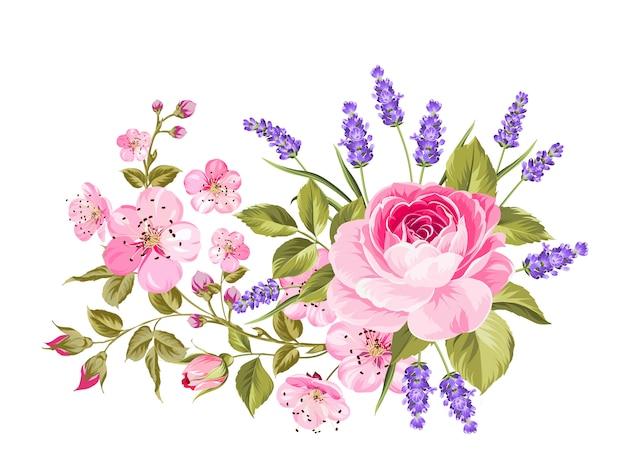 Girlanda z wiosennych kwiatów.