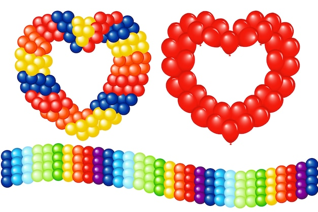 Girlandy balonów (kształt serca i paskiem), na białym tle