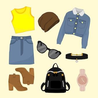 Girly fashion style przedmioty ilustracji