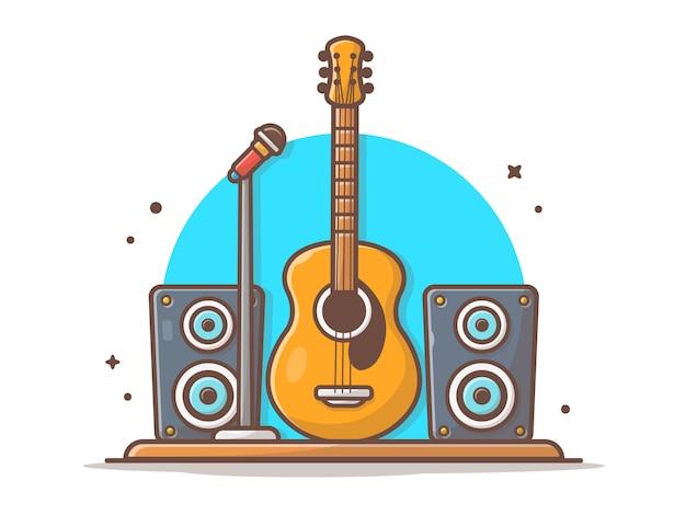 Gitara akustyczna z mikrofonem i ikoną głośnika dźwięku. izolacja akustyczna biały na białym tle