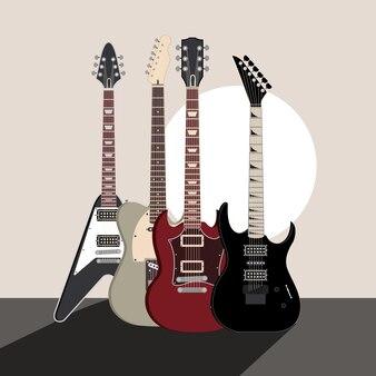 Gitara elektryczna instrumenty muzyczne ilustracja koncert dźwiękowy
