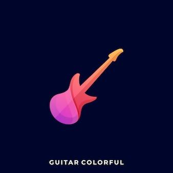 Gitara ikona ilustracja szablon projektu