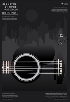 Gitara koncert plakat tło szablonu