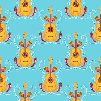 Gitara, marakasy, czerwone chili. meksykański wzór. wystrój dla cinco de mayo. może być stosowany jako tapeta, papier pakowy, opakowania, tekstylia