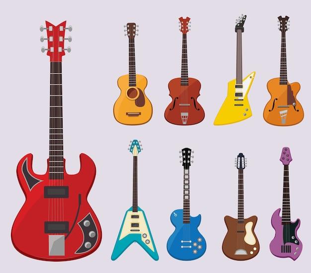 Gitara muzyczna. dźwięk instrumentów koncertowych na żywo odtwarza różne przedmioty klasyczne gitary, ilustracje. instrument gitara elektryczna i akustyczna, dźwięk muzyczny