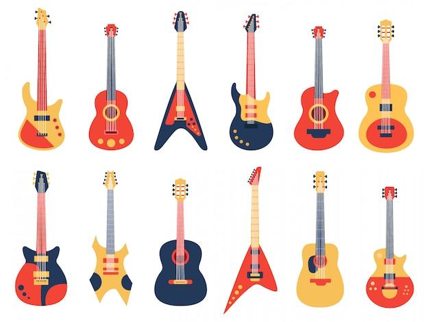 Gitara muzyczna. gitary akustyczne, elektryczne rock i jazz, gitary smyczkowe retro, zestaw ilustracji instrumentów zespołu muzycznego. instrument gitarowy do rocka, basu elektrycznego i akustycznego