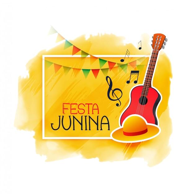 Gitara muzyczna i czapka festa junina