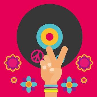 Gitara muzyczna płyta winylowa ręka kwiaty wolny duch
