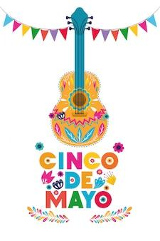 Gitara projekt, cinco de mayo meksyk kultury turystyki punkt zwrotny łacina i przyjęcie tematu wektoru ilustracja