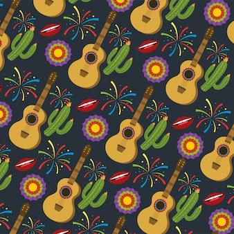 Gitara z kaktusa roślinami i kwiatów tłem